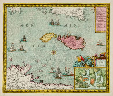 Antique Maps, de Fer, Malta, Gozo, Valetta, 1723: Carte et Plan de l'isle de Malthe et des villes et forts avec les nouvelles fortifications ainsy quelle sont apresent