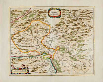 Antique Maps, Blaeu, Switzerland, Basel, Basle, 1662: Territorium Basileense, cum adjacentibus