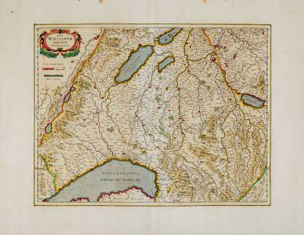 Antique Maps, Blaeu, Switzerland, Lake Geneve, Vaud, Fribourg, Romandie: Das Wiflispurgergow. Gerardo Mercatore Auctore.