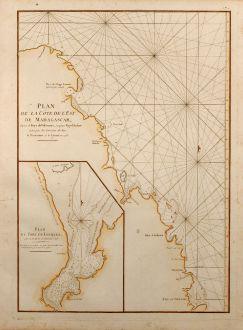 Antique Maps, Mannevillette, Sea Chart, East Madagascar, Louquez, 1775: Plan de la Côte de L'Est de Madagascar, depuis la Baye de Vohemare jusqu'au Cap d'Ambre