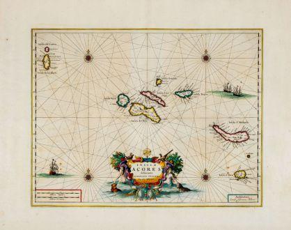 Antique Maps, Blaeu, Acores, Azores, 1662: Insulae Acores Delineante Ludovico Teisera
