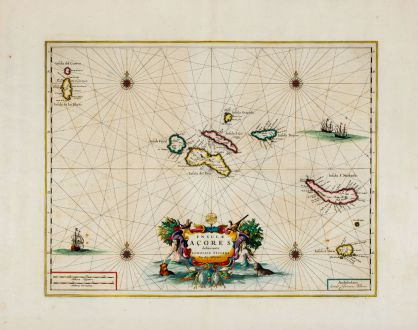 Antike Landkarten, Blaeu, Atlantik, Acores, Azoren, 1662: Insulae Acores Delineante Ludovico Teisera