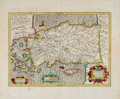 Antike Landkarten, Hondius, Türkei, 1639: Natoliae sive Asia Minor