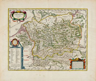 Antique Maps, Blaeu, Germany, 1644-55: Germaniae Veteris typus