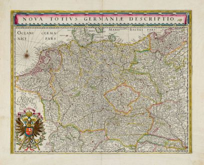 Antique Maps, Blaeu, Germany, 1644-55: Nova totius Germaniae descriptio