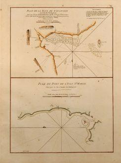Antique Maps, Mannevillette, Madagascar, St. Augustin, 1775: Plan de la Baye de St. Augustin en l'Isle de Madagascar / Plan du Port de l'Isle Ste. Marie