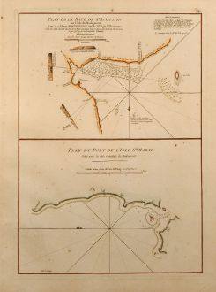 Antike Landkarten, Mannevillette, Ostafrika, Ost Madagaskar, St. Augustin, 1775: Plan de la Baye de St. Augustin en l'Isle de Madagascar / Plan du Port de l'Isle Ste. Marie