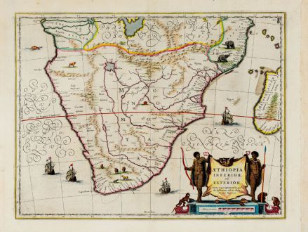 Antique Maps, Blaeu, South Africa, 1644-55: Aethiopia Inferior, vel Exterior.