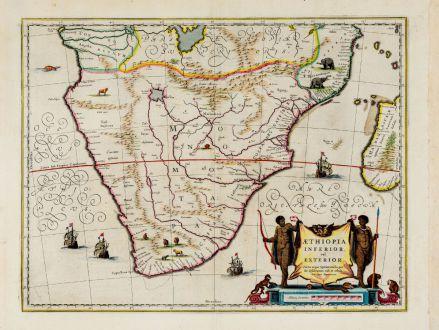 Antike Landkarten, Blaeu, Südafrika, 1644-55: Aethiopia Inferior, vel Exterior.