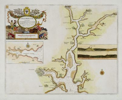 Antique Maps, Collins, England, Cornwall, Falmouth, 1693-1792: Falmount