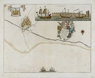 Antike Landkarten, Collins, Britische Inseln, Schottland, Edinburgh, Leith: Prospect of Leith from the east - To the Right Honourable Sr. James Fleming, Lord Provost of ye City of Edenburgh
