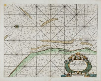 Antique Maps, Collins, England, Norfolk, Great Yarmouth, 1693-1792: Yarmouth and the Sands about it