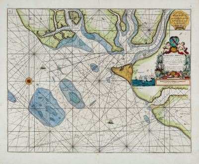 Antique Maps, Collins, England, Essex, Harwich, 1693-1792: Harwich, Woodbridg and Handfordwater, with the Sands from the Nazeland and to Hosely Bay.