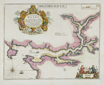 Antique Maps, Collins, Wales, Pembrokeshire, Milford Haven, 1693-1792: Milford-Haven - To His Grace Henry Duke of Beaufort, and Earle of Worcester, Baron Herbert of Chepstoll...