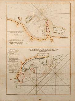 Antique Maps, Mannevillette, Kenya, Mozambique, 1775: Plan de l'Isle de Patte et de son Port / Plan des Isles Querimbo, Oybo et Matemo