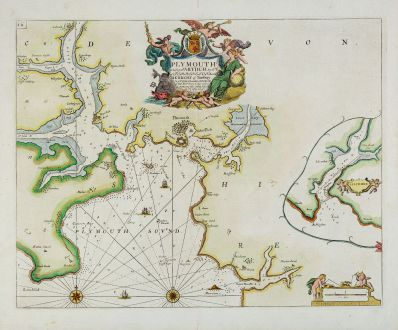 Antique Maps, Collins, England, Devonshire, Plymouth, 1693-1792: Plymouth - To The Rt. Honble. Arthur Earle Of Torrington, Baron Herbert of Torbay.