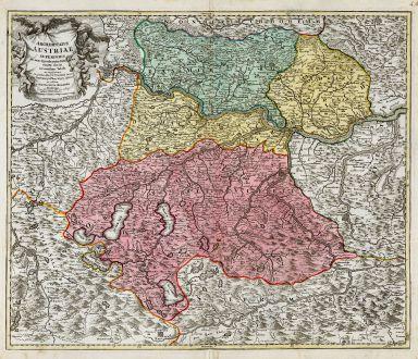 Antike Landkarten, Homann, Österreich - Ungarn, Oberösterreich, 1720: Archiducatus Austriae Superioris...