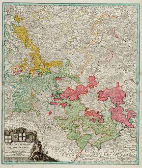 Antique Maps, Homann, Germany, Rhineland, North Rhine-Westphalia, 1720: S.R.I. Circulus Rhenanus sive Electorum Rheni