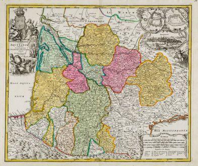 Antike Landkarten, Homann, Frankreich, Bordeaux, 1720: Tabula Aquitaniae complectens Gubernationem Guiennae et Vasconiae