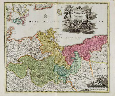 Antike Landkarten, Homann, Deutschland, Mecklenburg-Vorpommern, 1720: Tabula Marchionatus Brandenburgici et Ducatus Pomeraniae
