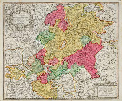 Antike Landkarten, Homann, Deutschland, Hessen, 1720: S.R.I. Circulus Rhenanus Superior