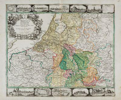 Antike Landkarten, Haupt, Deutschland, Niederrhein, 1740: Rhenus Inferior denuo delineatus Moeno coniunctus ad Mare usque Germanicum a I. B. Nolin Geographo Reg. Gallico aeri...