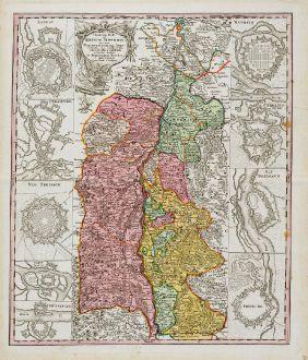 Antique Maps, Homann Erben, Germany, Baden-Württemberg, Upper Rhine, 1734: Theatrum Belli ad Rhenum superior nec non munimentorum tum Imperialium, tum Gallicorum ichnographica exhibitio ...