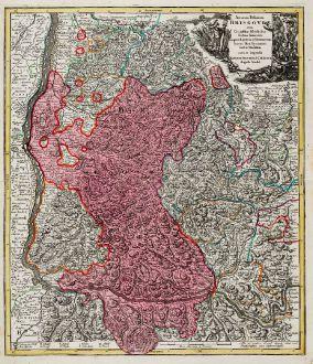 Antique Maps, Seutter, Germany, Baden-Württemberg, Black Forest, 1730: Accurata Delineatio Brisgoviae cum Civitatibus Silvestribus Austriae Anterioris, tanquam Limitum et Terminorum Imperii Rom....