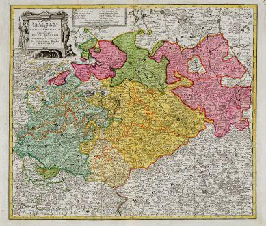 Antike Landkarten, Homann Erben, Deutschland, Sachsen, 1734: Circuli supe. Saxoniae pars meridionalis sive ducatus, electoratus et principatus ducum Saxoniae