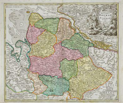 Antike Landkarten, Homann, Deutschland, Niedersachsen, Bremen, Hamburg, 1720: Ducatus Bremae et Ferdae Nova Tabula