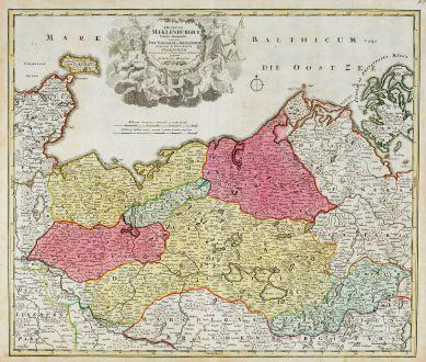 Antike Landkarten, Homann, Deutschland, Mecklenburg-Vorpommern, 1720: Ducatus Meklenburgici Tabula Generalis Continens Duc. Vandaliae et Meklenburg Comitatum et Episcopatum Swerinensem...