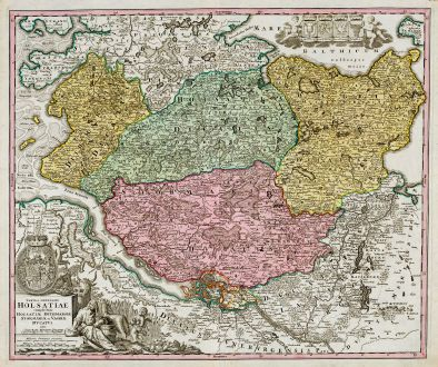 Antique Maps, Homann, Germany, Schleswig-Holstein, Hamburg, Kiel, Lübeck: Tabula Generalis Holsatiae Complectens Holsatiae, Dithmarsiae, Stormariae, et Vagriae Ducatus