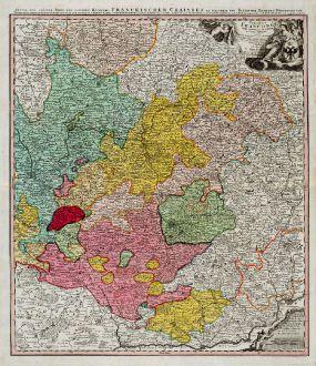 Antike Landkarten, Homann, Deutschland, Bayern, Franken, 1720: Circuli Franconiae Pars Orientalis et Potior ...
