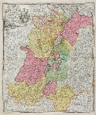 Old coloured map of Baden-Württemberg. Printed in Nuremberg by J. B. Homann circa 1720.