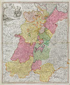Antike Landkarten, Homann, Deutschland, Baden-Württemberg, 1720: Landgraviatus Alsatiae tam Superioris quam Infericum utroque Marchionatu Badensis ...