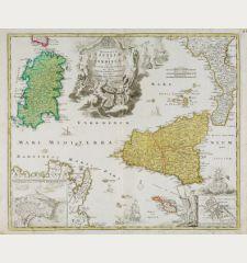 Regnorum Siciliae et Sardiniae nec non Melitae seu Maltae Insula cum Adjectis Italiae et Africae Litoribus Nova Tabula ...