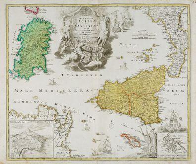 Antike Landkarten, Homann, Italien, Sizilien, Sardinien, Malta, 1720: Regnorum Siciliae et Sardiniae nec non Melitae seu Maltae Insula cum Adjectis Italiae et Africae Litoribus Nova Tabula ...