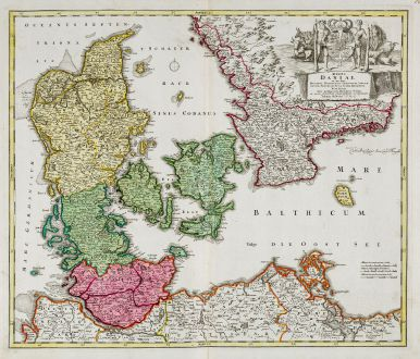 Antike Landkarten, Homann, Dänemark, 1720: Regni Daniae in quo sunt Ducatus Holsatia et Slesvicum Insulae Danicae Provinciae Iutia Scania Blekingia Nova Tabula