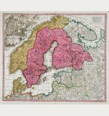 Scandinavia Complectens Sueciae, Daniae & Norvegiae Regna ex Tabulis Ioh. Baptistae Homanni