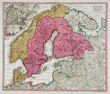 Antike Landkarten, Homann, Skandinavien, 1720: Scandinavia Complectens Sueciae, Daniae & Norvegiae Regna ex Tabulis Ioh. Baptistae Homanni
