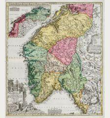 Regni Norvegiae Accurata Tabula in qua Praefecturae Quinque Generales Aggerhusiensis, Bergensis Nidrosiensis, Wardhusiensis...