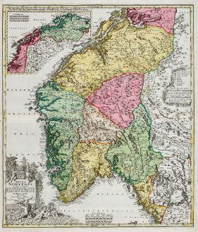 Antique Maps, Homann, Norway, 1720: Regni Norvegiae Accurata Tabula in qua Praefecturae Quinque Generales Aggerhusiensis, Bergensis Nidrosiensis, Wardhusiensis...