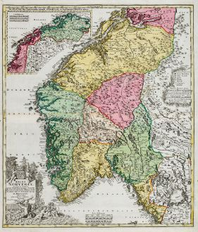 Antike Landkarten, Homann, Norwegen, 1720: Regni Norvegiae Accurata Tabula in qua Praefecturae Quinque Generales Aggerhusiensis, Bergensis Nidrosiensis, Wardhusiensis...