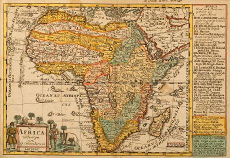 Antike Landkarten, Schreiber, Afrika Kontinent, 1749: Africa verfertiget von J. G. Schreibern in Leipzig