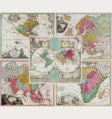 Planiglobii Terrestris cum utroq Hemisphaerio Caelesti [and] Totius Africae [and] Totius Americae Septentrionalis et...