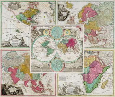 Antique Maps, Homann, World and Continents, 1720: Planiglobii Terrestris cum utroq Hemisphaerio Caelesti [and] Totius Africae [and] Totius Americae Septentrionalis et...