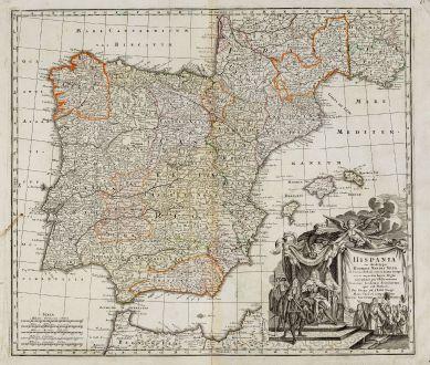 Antique Maps, Seutter, Spain - Portugal, 1735: Hispania ex Archetypo Roderici Mendez Sylvae et Variis Relationibus ...