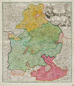 Antike Landkarten, Homann, Deutschland, Bayern, 1720: Bavariae Circulus et Electorat ...