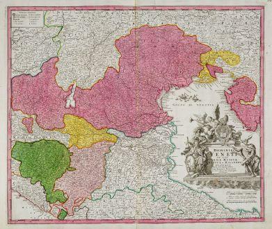 Antike Landkarten, Homann, Italien, Regione del Veneto, Venetien, 1720: Dominii Veneti cum Vicinis Parmae Mutinae Mantuae et Mirandoli ...