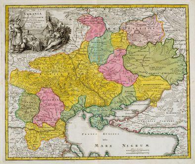 Antique Maps, Homann, Ukraine, Black Sea, 1720: Ukrania quae et Terra Cosaccorum cum vicinis Walachiae, Moldaviae, Minorisq., Tartariae Provinciis exhibita